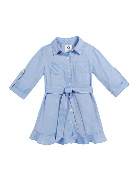 Milly Minis Oxford Shirting Ruffle Dress, Size 8-14