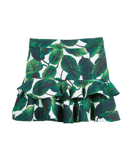 Banana Leaf Ruffle Tiered Mini Skirt, Size 8-14