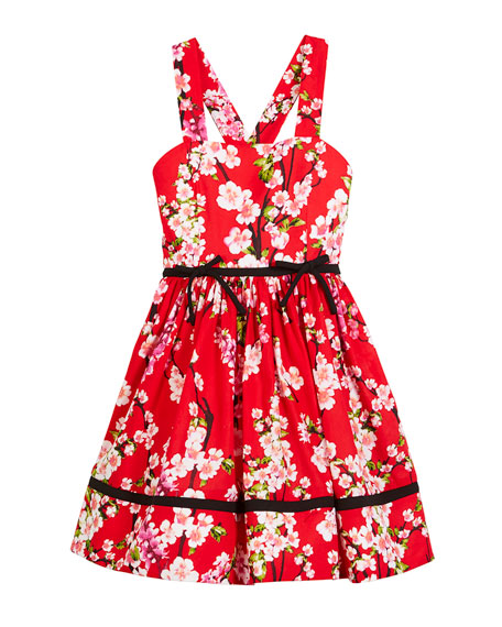 Cherry Blossoms Cross-Back Dress, Red, Size 7-14