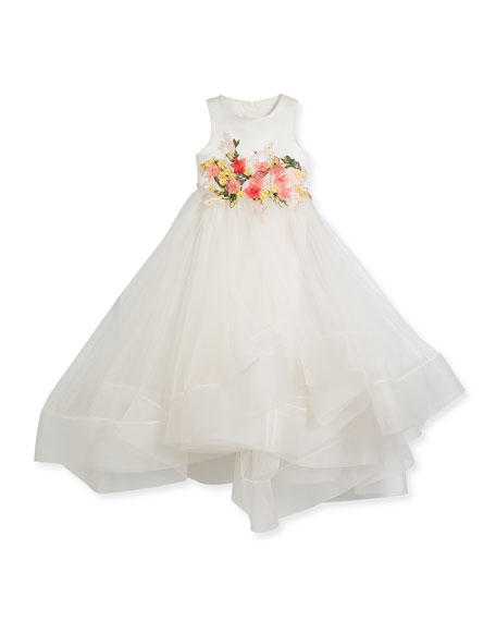 Tea-Length Flower Tulle Dress, Size 4-6