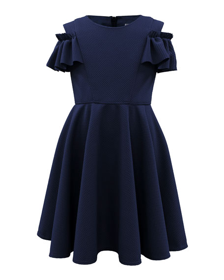 Ruffle-Sleeve Cold-Shoulder Dress, Size 4-10