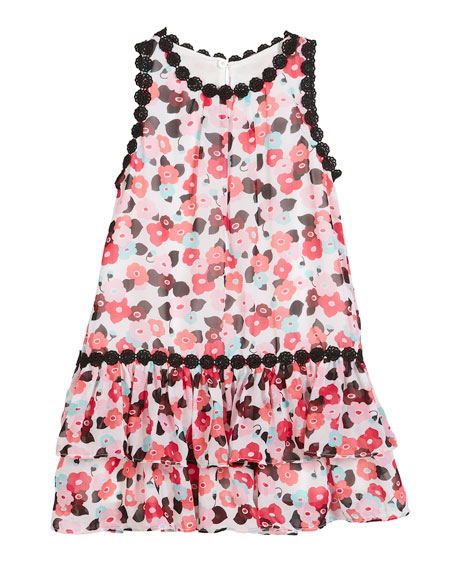 blooming floral crochet-trim dress, size 7-14