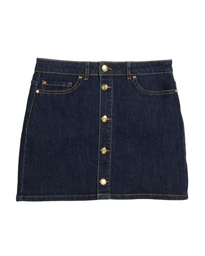 button-front denim mini skirt, size 7-14