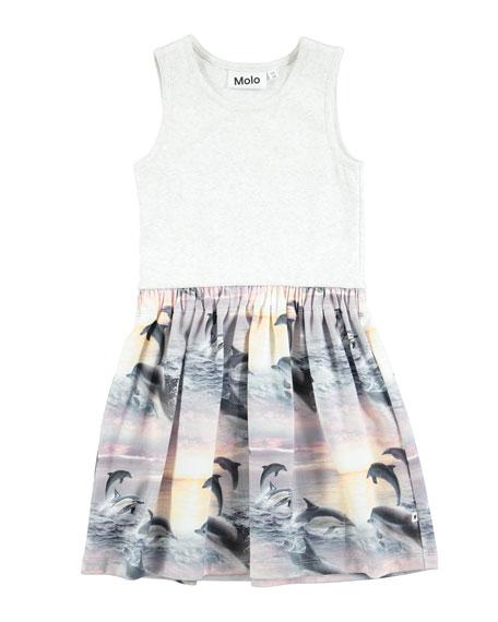 Colleen Sleeveless Dolphin-Skirt Dress, Size 2T-10