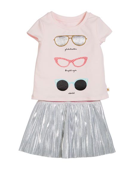 sunglasses tee w/ metallic skirt, size 2-6x