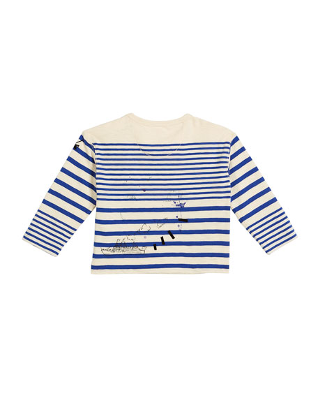 Stripe Scribble-Print Long-Sleeve Shirt, Size 6M-3