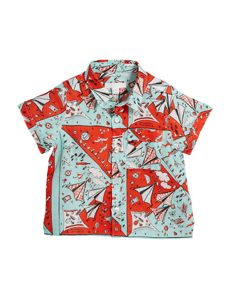 Burberry Sammi Picnic-Print Short-Sleeve Shirt, Size 4-14