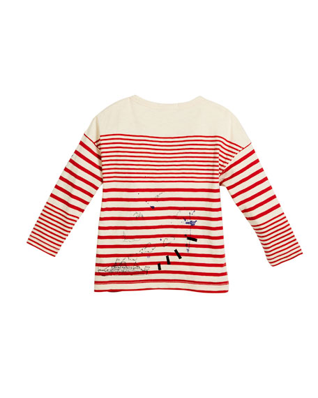Stripe & Scribble Long-Sleeve Shirt, Size 4-14