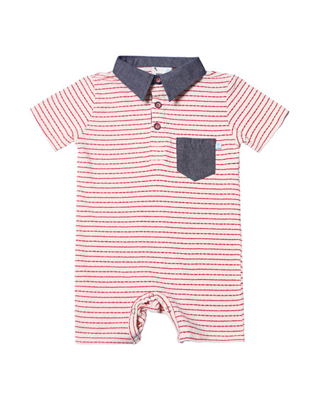 Stripe Jersey Collared Playsuit, Size 3-18 Months
