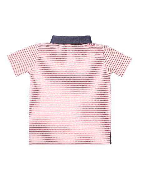 Stripe Jersey Polo Shirt, Size 2-8