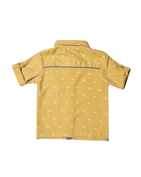Collared Cotton-Blend Gator Shirt, Size 2-8