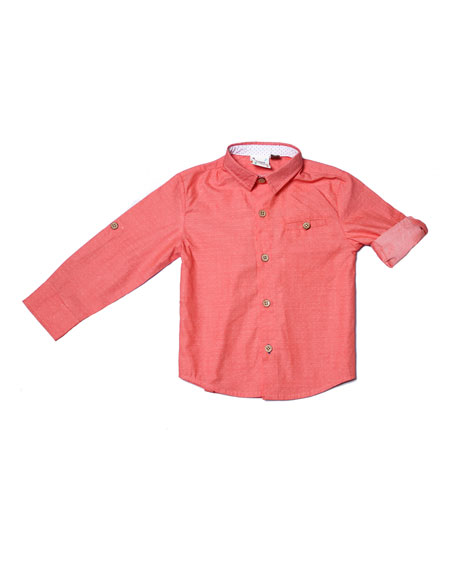 Long-Sleeve Pin-Dot Collared Shirt, Size 2-8