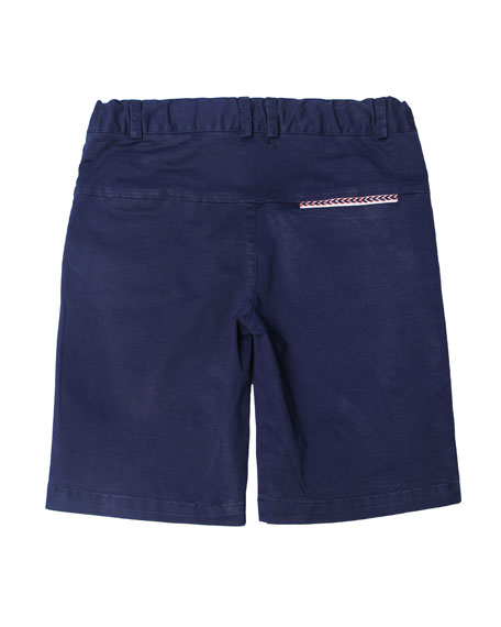 Cotton-Stretch Shorts, Blue, Size 2-8
