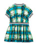 Burberry Melby Scribble Check Silk Pleated Dress, Size