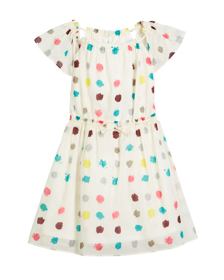 Maria Dot-Print Drawstring-Waist Dress, Size 4-14
