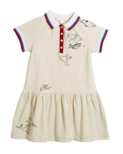 Calin Polo Graffiti-Print Dress, Size 4-14