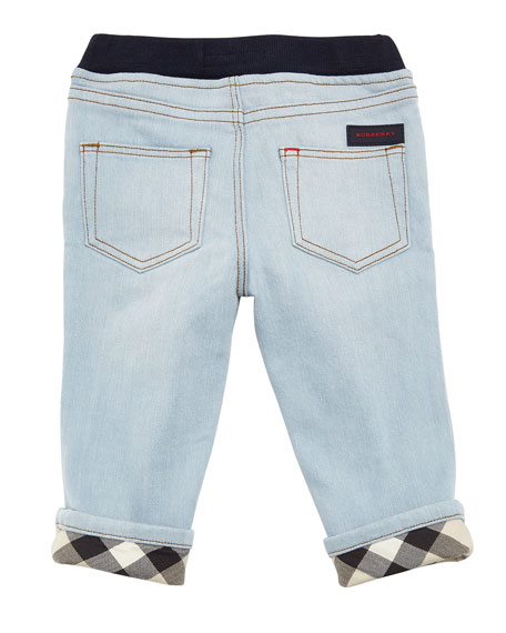Relaxed Denim Jeans w/ Check Cuffs, Size 6M-3