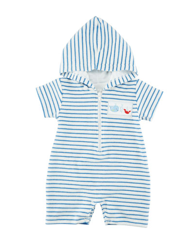 Ocean Treasures Striped Hooded Beach Romper, Size 3-24 Months