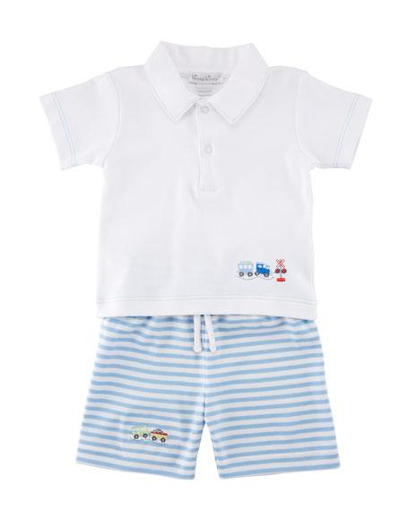 Little Railroad Two-Piece Bermuda Outfit Set, Size 3-24 Months