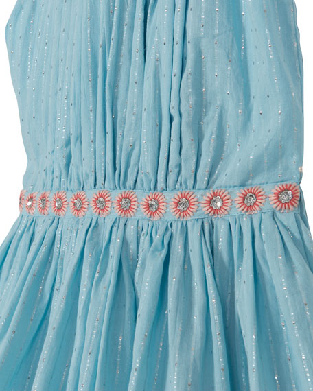 Pleated Sleeveless Party Dress, Size 8-12