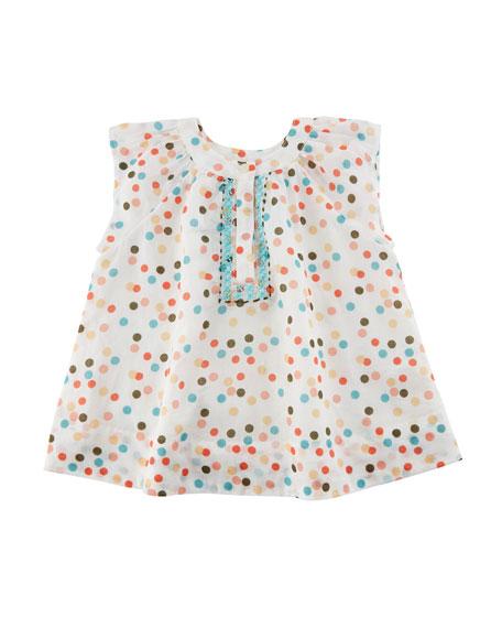 Polka-Dot Cotton Dress w/ Cross-Stitched Detail, Size 3-24 Months