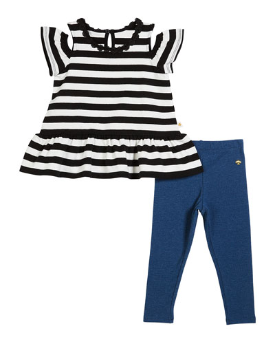 striped cold-shoulder top w/ leggings, size 12-24 months