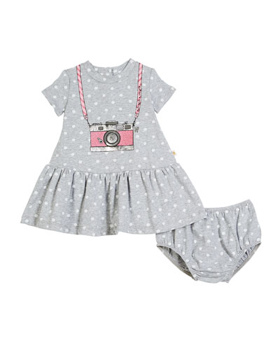 polka-dot camera dress w/ bloomers, size 12-24 months