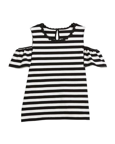 striped cold-shoulder top, size 7-14