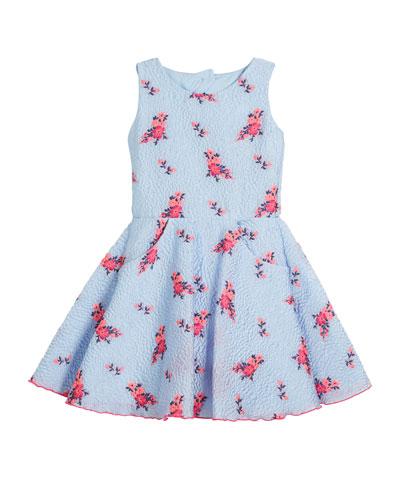 Textured Floral Organza Pocket Dress, Size 7-16