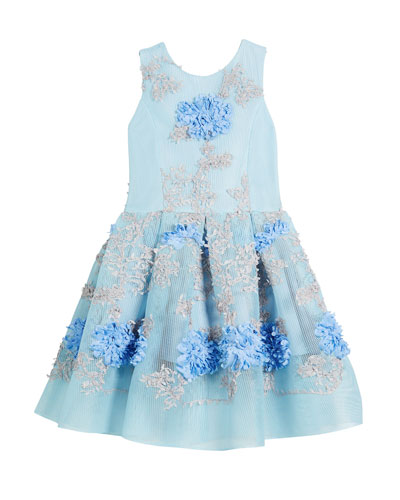 Perforated Mesh Flower-Embroidered Dress, Size 7-16