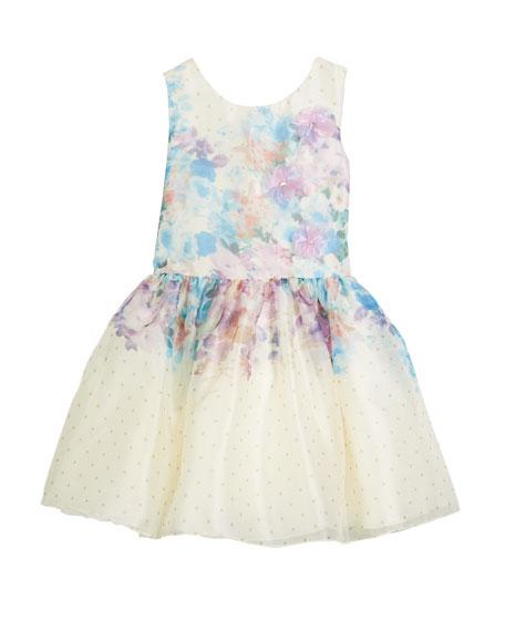Ombré Floral Party Dress, Size 4-6X