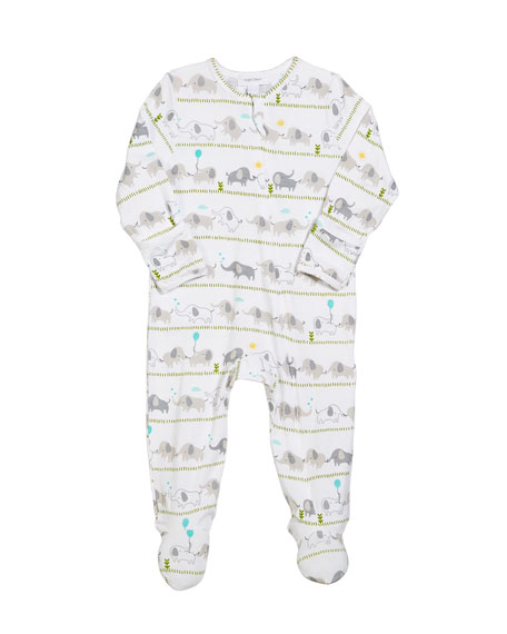 Striped Elephant Zip-Front Footie Pajamas, Size 0-9 Months
