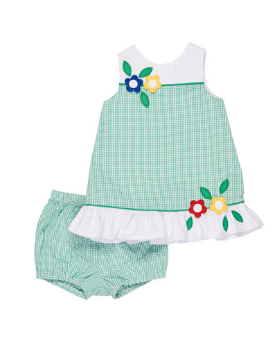 Check Seersucker Dress w/ Bloomers, Size 3-24 Months