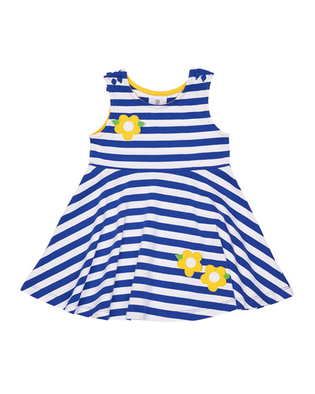 Stripe Knit Swing Dress w/ Flowers, Size 2-6X