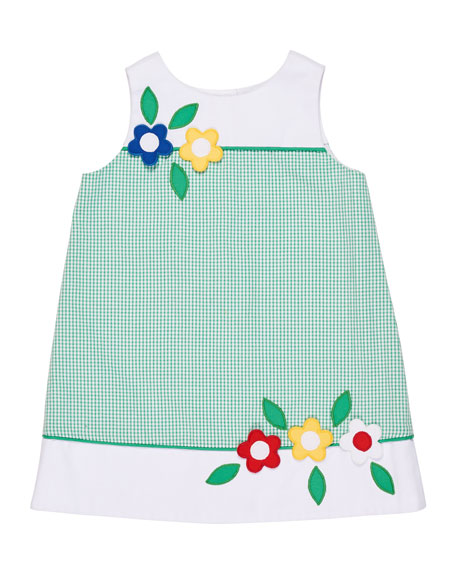 Seersucker Check A-Line Dress w/ Flowers, Size 2-6