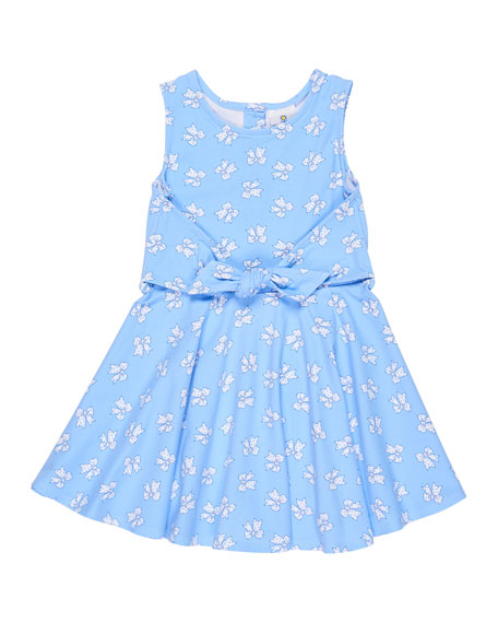 Sleeveless Bow-Print Tie-Front Dress, Size 2-6X