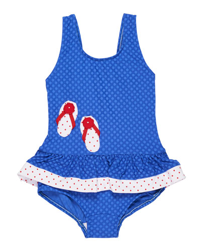 Jacquard Dot Ruffle One-Piece Swimsuit, Size 2-6X