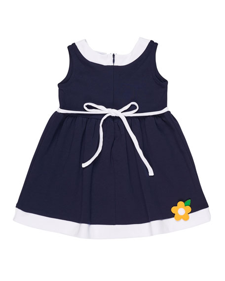 Sleeveless Interlock Knit Dress w/ Flowers, Size 2-6