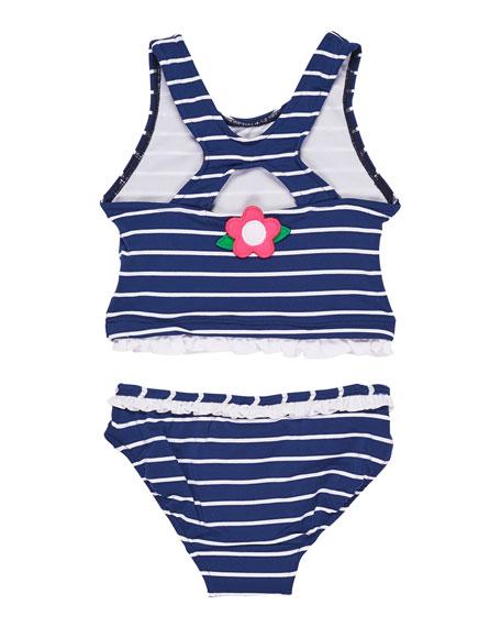 Stripe Two-Piece Swimsuit w/ Flowers & Ruffles, Size 7-10