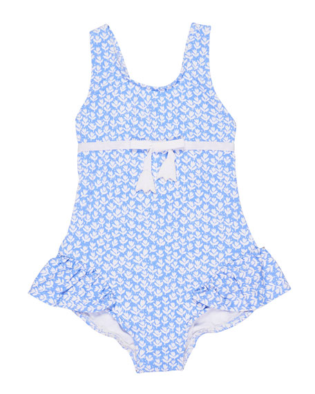 Tulip-Print Ruffle One-Piece Swimsuit, Size 2-4
