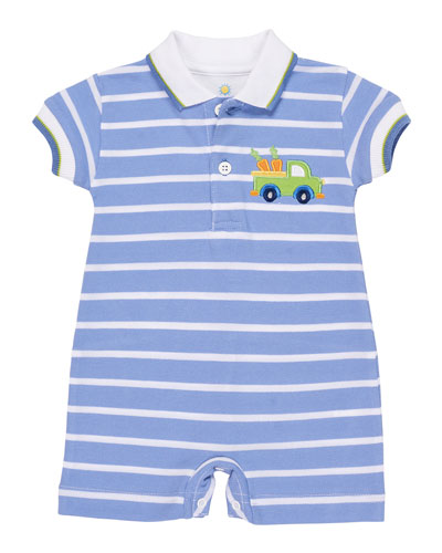 Stripe Knit Pique Shortall w/ Rabbit Truck Embroidery, Size 3-12 Months