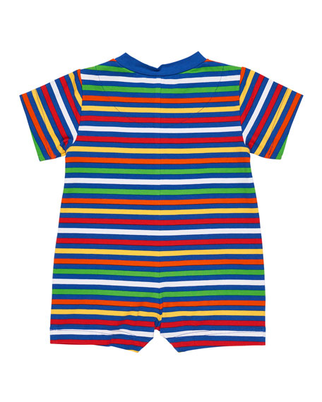 Multi-Stripe Sailboat Shortall, Size 3-24 Months