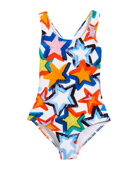 Stars Cross-Back One-Piece Swimsuit, Size 8-14