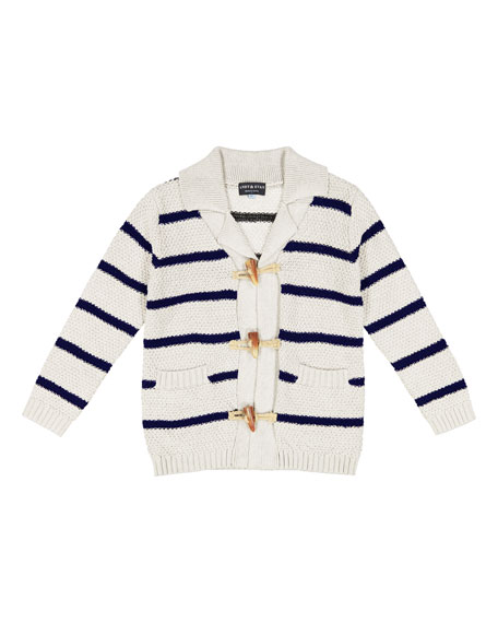 Toggle-Front Stripe Knit Cardigan, Size 3-24 Months