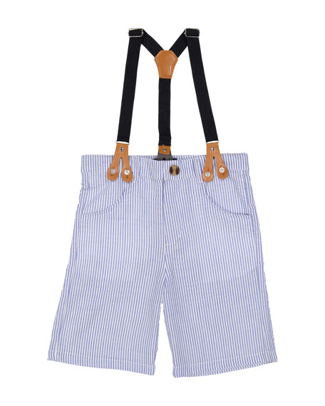 Seersucker Suit Shorts w/ Suspenders, Size 2-7
