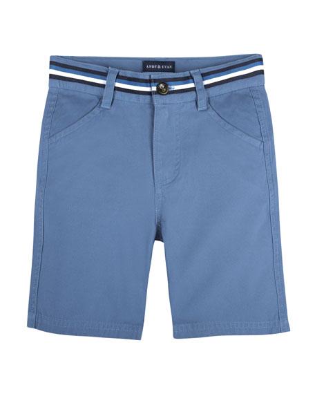Andy & Evan Cotton-Stretch Mock Belt Shorts, Size