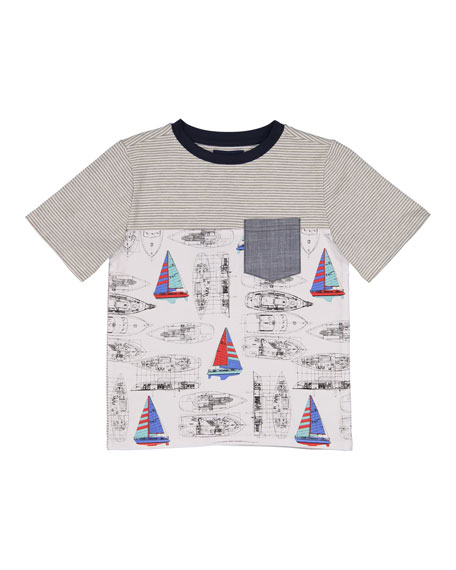 Andy & Evan Vintage Sailboat T-Shirt w/ Chambray
