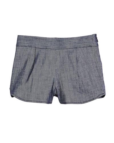 Stretch-Linen Denim Petal Shorts, Size 8-14