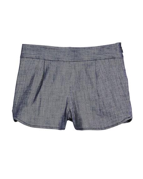 Milly Minis Stretch-Linen Denim Petal Shorts, Size 8-14