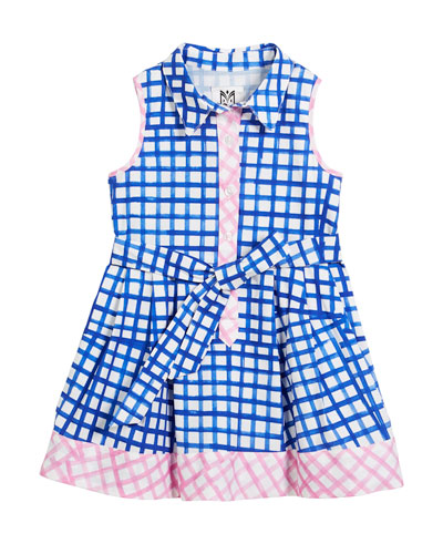 Sleeveless Check Shirt Dress, Size 4-7